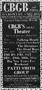 CBGB's 1977 ad